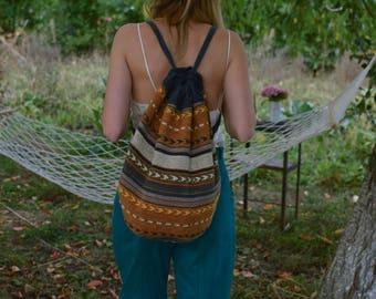 Vintage woven backpack southwestern bag 90s backpack