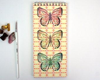Lined Notepad - Rose Lemon Mint Butterflies