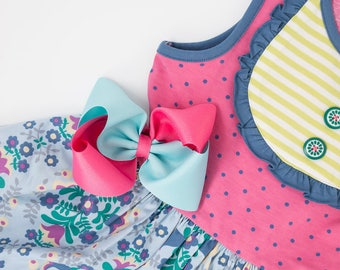 """MJ Bows - Cotton Candy Allison  - 5"""" two tone bow made to match Matilda Jane Clothing, Make Believe"""