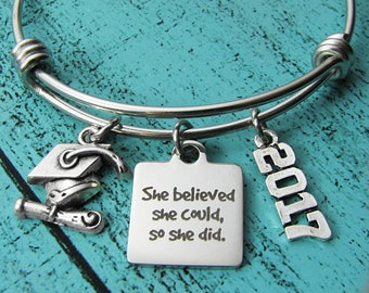 congrats gift, college graduation gift, for graduate bracelet, she believed she could high school graduation gift for her, senior student