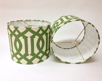 "Drum Lampshade in Schumacher Imperial Trellis fabric in Trelliage 12"" D X 10"" H - Ready to Ship!"