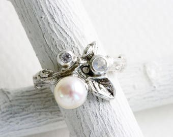 Gem Cluster,Pearl,Rainbow Moonstone and White Sapphire Silver Leaf Twig Ring,Leaf Fine Jewelry