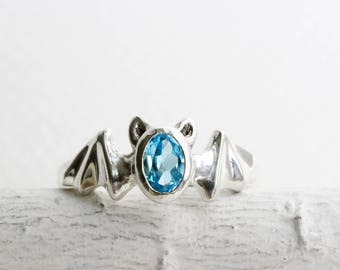 Bat Ring,Blue Topaz and Sterling Silver, Bat Fine Jewelry