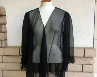 Plus Size Sheer Robe Vintage Black Chiffon Jacket 80s Open Front Short Trapeze Nightgown Large Extra Large