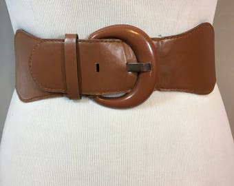 Vintage Brown Stretch Belt with Faux Leather Front and Brown Buckle 3 Inches Wide 28.5 Inches Long Stretches to 39 Inches, Brown Cinch Belt