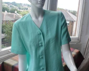 Viyella aqua green polyester short sleeve overblouse 10