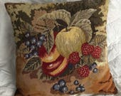Vintage Needlepoint Pillow With Luscious Colorful Fruits