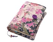 Handmade Book Cover in Kimono Silk Fabric, Moonlit Orchids, Bible Cover, UK Seller, Suitable for Hardback or Paperback