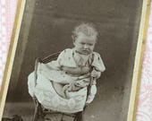 European Carte de Visite of Curly Haired Baby CdV Cabinet Card 9007