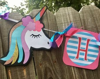 Unicorn (Pink, Purple, Aqua) Happy Birthday Banner