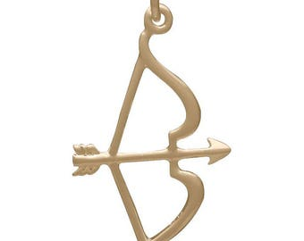 Bow And Arrow Pendant, Bronze -30mm