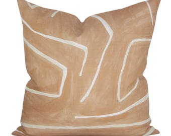 Graffito pillow cover in Salmon/Cream