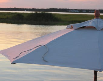 Patio Umbrella NoteCard | Magic Hour Photo | Blank Note Card | Greeting Card | Summer Sunset | Coastal Art