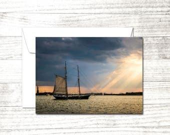 NYC Note Card   NY Harbor Greeting Card   Sailing Blank Greeting Card   Statue of Liberty   Sailboat on Hudson
