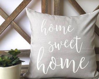 Pillow Cover-Decorative Pillows-Designer Pillow-Throw Pillow-Quote Pillow-Custom Pillow-Home Sweet Home Pillow-Fall Pillow-Vintage Pillow