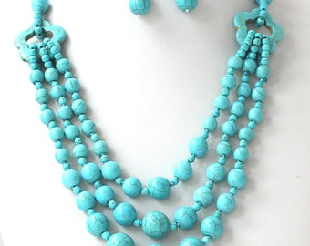 20 Inch Stunning 3 Strands Green Simulated Turquoise Necklace and Earrings Set
