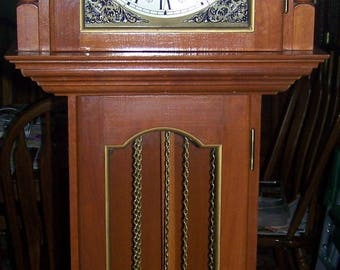 Vintage 1970's Emperor Clock Co. Weight Driven Chiming Grandmother Clock