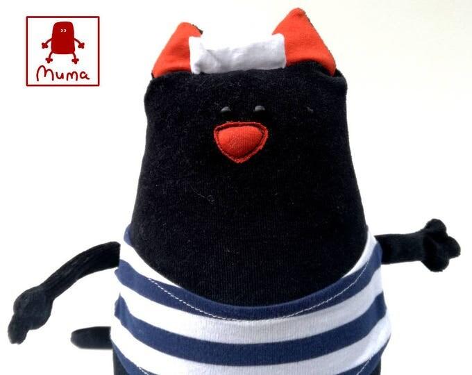 Muma Kitty Plushie, Little Pocket Trim the Cat Stuffie Toy, Funny Sailor Kitty Pocket Plush
