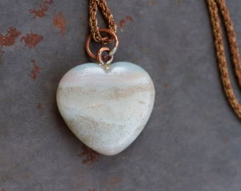 Marble Heart Necklace - Turquoise Agate Stone on Long Copper Toned Chain - Vintage Natural Jewelry