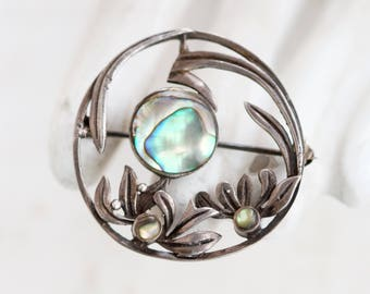 Art Nouveau and Mother of Pearl Lapel Pin - Sterling Silver Brooch - Antique Dark Silver - Oxidized Leaves - Fall Jewelry - Autumn Delight