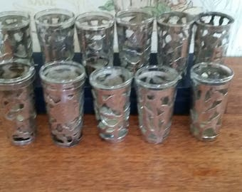 Vintage Shot Glasses with Sterling Silver Open Cut Etched Covers