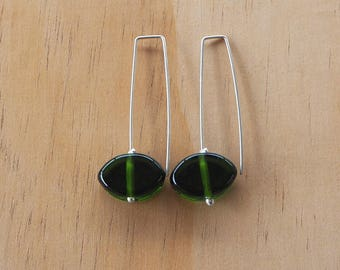 Long green recycled glass earrings. Recycled Glass Beads made from a Moet Champagne Bottle