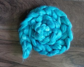 """2oz 100 % tussah silk roving hand dyed for spinning yarn making needle felting fiber arts supplies """"cool water"""" blue tonal colorway"""