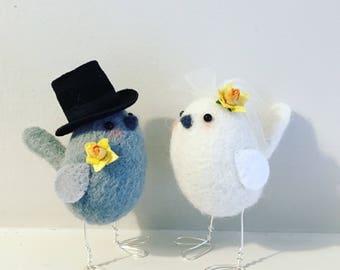 Daffodil Bird Wedding Cake Toppers
