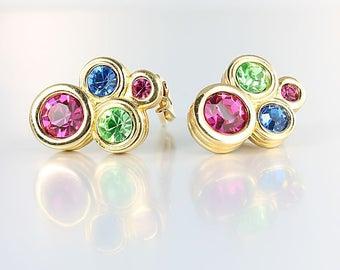 Signed Swarovski  Earrings, Sapphire Peridot Pink Crystal Geometric Earrings clip on, Swan logo,