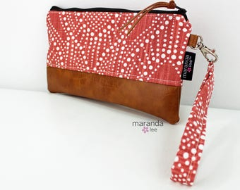 Flat Clutch - Alyssa Red  READY to SHIp Bridesmaid Gift Wallet Cosmetic Bag