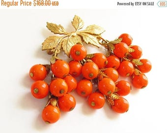 ON SALE Early Miriam Haskell Orange Glass Bead Grape Cluster Dangle Brooch  1930s Jewelry