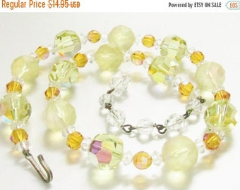ON SALE Vintage Yellow Crystal Beaded Necklace 1940s Jewelry