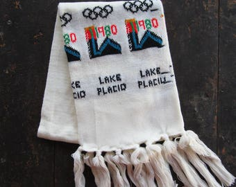 Vintage 1980 Lake Placid Scarf Olympics NOS Knit Tassels White Upstate New York