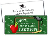We print - Chalk Board Graduation Personalized Candy Bar Wrappers - Elementary Graduation Party Favors - Great Class Handouts