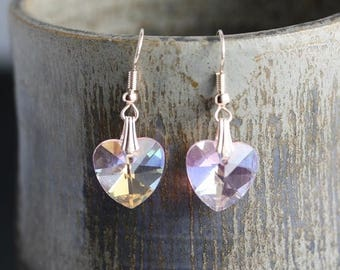 Clearance Sale - Rose Gold Pink Glass AB 14mm Heart Earrings - Item 1555