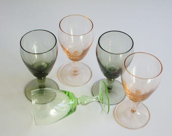 Vintage, Mid Century, Liqueur Glasses, Aperitif Glass, Digestif Glass, Cordial Glass, Barware, Bar Glasses, Set of 5, Smoke, Green, Pink