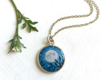 Full Moon Necklace Silver - I love you to the Moon and back
