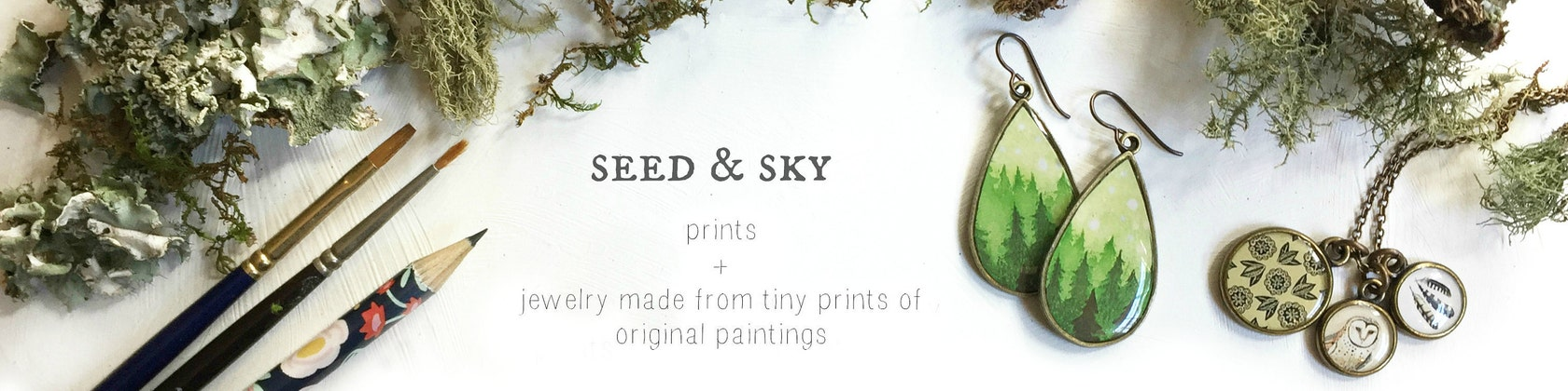 Illustrations and Illustrated Jewelry by SeedandSky on Etsy