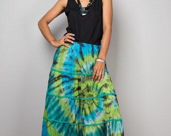 Summer skirt, maxi skirt, tie dye skirt, boho skirt, blue green skirt, tiered skirt, festival skirt : Funky Collection