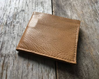 Leather Billfold Wallet - Repurposed Tan Leather