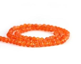 SUMMER SALE Carnelian Micro Faceted Rondelles 14 Orange Semi Precious Gemstones