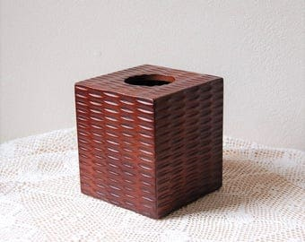 Wood Tissue Box Tropical Tribal British Colonial