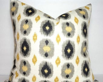 FALL is COMING SALE Gold Yellow Black Grey Ikat Print Pillow Cover Decorative Ikat Design Pillow Cover Size 18x18 20x20