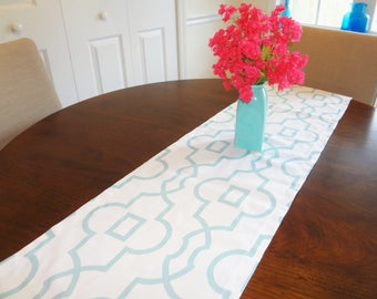 Canal Aqua Spa Blue Geometric Sheffield Table Runner Home Decor by HomeLiving Dining Room Decor ALL SIZES