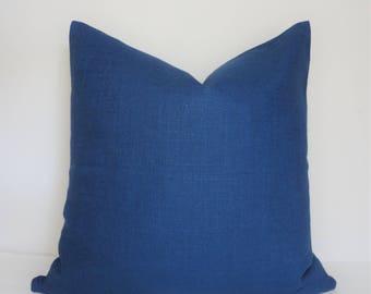 Solid Navy Blue Linen Pillow Cover Decorative Home Decor Size 18x18