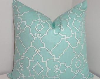 SPRING FORWARD SALE Pale Blue & White Geometric Trellis Pillow Cover Decorative Pillow Cover All Sizes