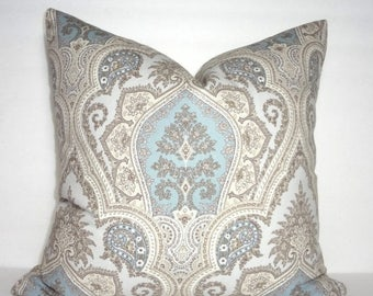 SPRING FORWARD SALE Grey Blue Tan Paisley Print Pillow Cover Decorative Pillow Flower Pillow Cover Size 18x18