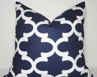 SPRING FORWARD SALE Navy Blue Moroccan Geometric Print Pillow Covers Decorative Throw Pillow Covers Navy Blue All Sizes