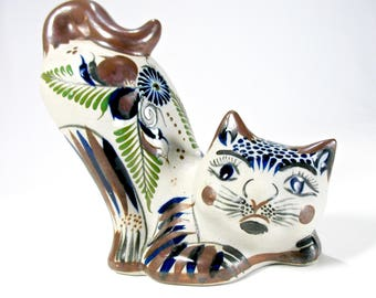 Tonala Cat Figurine, Stretching Cat, Made in Mexico, Signed, Hand Painted, Kitty Statue, Mexican Folk Art, Cat Lover, Gift Idea, Excellent