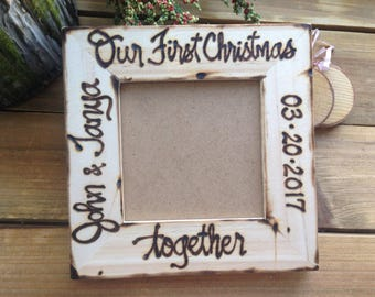 Our First Christmas together Personalized Wood Frame with Names and Date newlyweds Boyfriend Girlfriend Engaged Getting Married Couple Love